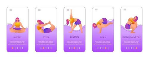 Yoga benefits onboarding mobile app screen vector template. Exercises and poses. Bodypositive female. Walkthrough website steps with flat characters. UX, UI, GUI smartphone cartoon interface concept