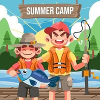 Brothers Fishing on Summer Camp vector