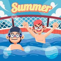 Swim with Friend on Summer vector