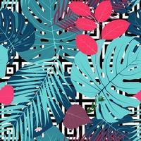 Summer Abstract Seamless Pattern Background with Palm Leaves. Vector Illustration