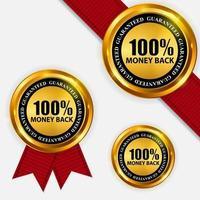 Gold Label 100 Money back Template. Vector Illustration