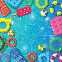Summer Swimming Pool With Floaters Background vector