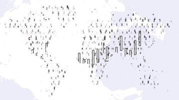 plano de fundo do mapa digital de negócios com números aleatórios estilo hacker video