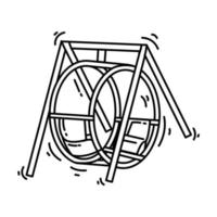Playground kids round swing,playing,children,kindergarten. hand drawn icon set, outline black, doodle icon, vector icon
