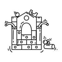 Playground kids imagination,playing,children,kindergarten. hand drawn icon set, outline black, doodle icon, vector icon
