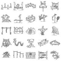 Playground kids icons set,playing,children,kindergarten. hand drawn icon set, outline black, doodle icon, vector icon