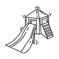 Playground kids slidehouse ,playing,children,kindergarten. hand drawn icon set, outline black, doodle icon, vector icon