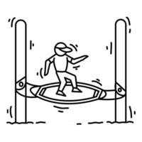 Playground kids boogle board,playing,children,kindergarten. hand drawn icon set, outline black, doodle icon, vector icon