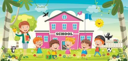 Little Students With Their Teacher vector