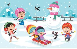Children Playing Outside In Winter vector