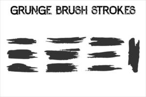 Set of different grunge brush strokes. vector