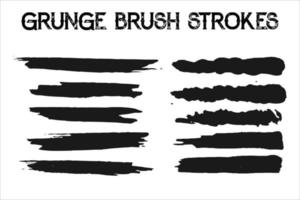 set of grunge black paint, ink brush strokes. brush collection isolated on white background. Trendy brush stroke for black ink paint,grunge backdrop, dirt banner,watercolor design and dirty texture. vector