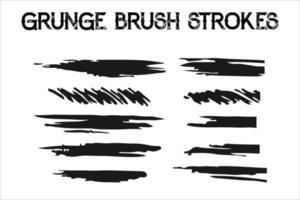 grunge brush strokes. Dirty artistic design elements isolated on white background. Black ink vector brush strokes