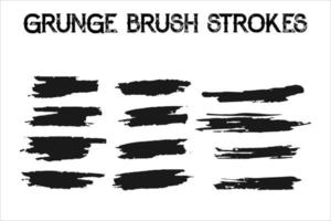Paint brush strokes and ink stains. Grunge vector collection