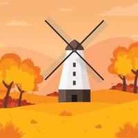 Windmill autumn background vector
