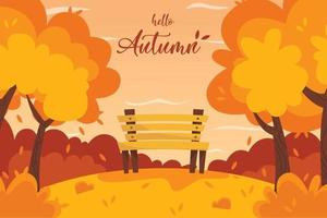 park background. hello autumn vector