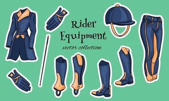 Outfit rider a set of clothes for a jockey boots pedjak pants whip helmet in cartoon style vector