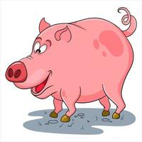 Animal character funny pig in cartoon style vector