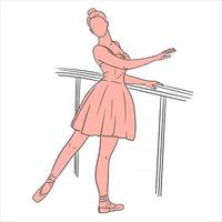 Ballerina in dress and pointe shoes. Line style. Dancer. vector
