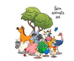 Farm animals characters big set of cartoon rural animals vector
