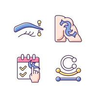 Tattoo and piercing types RGB color icons set. Isolated vector illustrations. Place on body where jewellery is injected. Metal skin accessories with gems simple filled line drawings collection