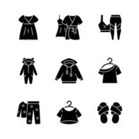 Comfortable sleepwear black glyph icons set on white space. Nightgown and dress for lounging. Sportswear for women. Cross band slippers. Homewear. Silhouette symbols. Vector isolated illustration
