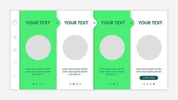 Environmental initiatives onboarding vector template. Responsive mobile website with icons. Web page walkthrough 4 step screens. Sustainable development. Green marketing color concept with copy space