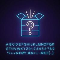 Mystery box neon light icon. Chest with question mark. Win surprise. Solving puzzles. Outer glowing effect. Sign with alphabet, numbers and symbols. Vector isolated RGB color illustration