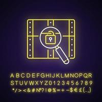 Chest with lock neon light icon. Search for pirate treasure. Open casket. Solving puzzles. Outer glowing effect. Sign with alphabet, numbers and symbols. Vector isolated RGB color illustration