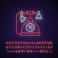 Telephone neon light icon. Old fashioned phone. Classic device with cord. Solving puzzles. Outer glowing effect. Sign with alphabet, numbers and symbols. Vector isolated RGB color illustration