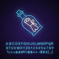 Message in bottle neon light icon. Scrolled note inside glass with cork. Clues for riddles. Outer glowing effect. Sign with alphabet, numbers and symbols. Vector isolated RGB color illustration