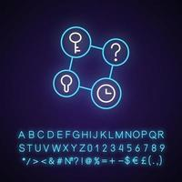 Connecting facts neon light icon. Mind game. Analyze question. Solving puzzles, clues for riddles. Outer glowing effect. Sign with alphabet, numbers and symbols. Vector isolated RGB color illustration