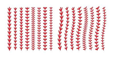 The red stitch or stitching of the baseball Isolated on white background. vector