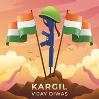 Kargil Vijay Diwas Indian Army Memorial vector