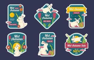 Mid Autumn Sale Badge Set vector