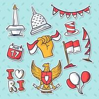 Indonesia Independence Day Sticker Set vector