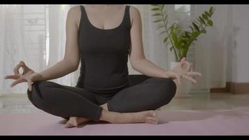 Woman teaching yoga online first step is meditation zen for working out at home in living room fitness, fit sport workout by exercise yoga during covid19 pandemic, Sports healthy lifestyle concept video