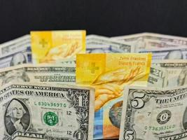 Value in the exchange rate between swiss and american money photo