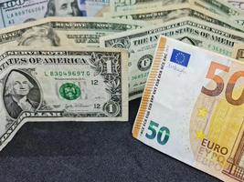 Value in the exchange rate between european and american money photo
