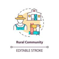Rural community concept icon. Communities types abstract idea thin line illustration. Farming, agricultural areas. Low population density. Vector isolated outline color drawing. Editable stroke