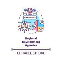 icono de concepto de agencias de desarrollo regional. programas de desarrollo comunitario nivel idea abstracta ilustración de línea fina. organizaciones voluntarias. dibujo de color de contorno aislado vectorial. trazo editable vector