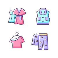 Clothes for sleeping RGB color icons set. Mini gown with robe. Denim jacket. One shoulder top. Fleece pajamas. Isolated vector illustrations. Homewear simple filled line drawings collection
