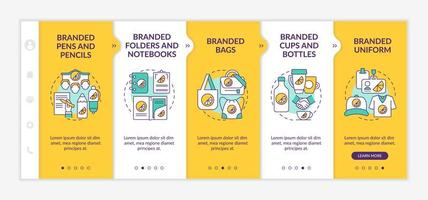 Corporate identity items onboarding vector template. Responsive mobile website with icons. Web page walkthrough 5 step screens. Branded pencils, bottles color concept with linear illustrations