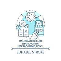 Calculate seller transaction fees and commissions concept icon. Profits calculation. Products sale abstract idea thin line illustration. Vector isolated outline color drawing. Editable stroke