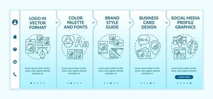 Corporate branding services onboarding vector template. Responsive mobile website with icons. Web page walkthrough 5 step screens. Brand style guide, logo color concept with linear illustrations