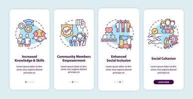 Community development benefits onboarding mobile app page screen with concepts. Increased skills walkthrough 4 steps graphic instructions. UI, UX, GUI vector template with linear color illustrations