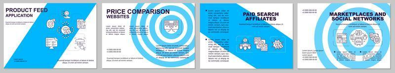 Product feed application brochure template. Value comparison. Flyer, booklet, leaflet print, cover design with linear icons. Vector layouts for presentation, annual reports, advertisement pages