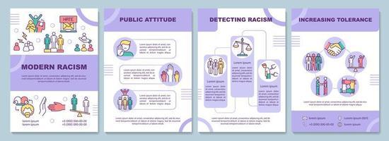 Plantilla de folleto de racismo moderno. actitud pública. folleto, folleto, impresión de folletos, diseño de portada con iconos lineales. diseños vectoriales para presentaciones, informes anuales, páginas publicitarias vector