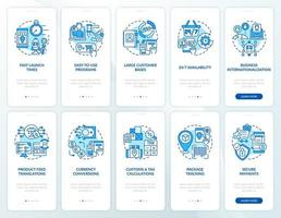 Online market place onboarding mobile app page screens set. E-commerce store walkthrough 5 steps graphic instructions with concepts. UI, UX, GUI vector template with linear color illustrations