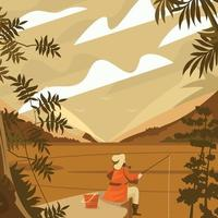 Man Fishing On The River Concept vector